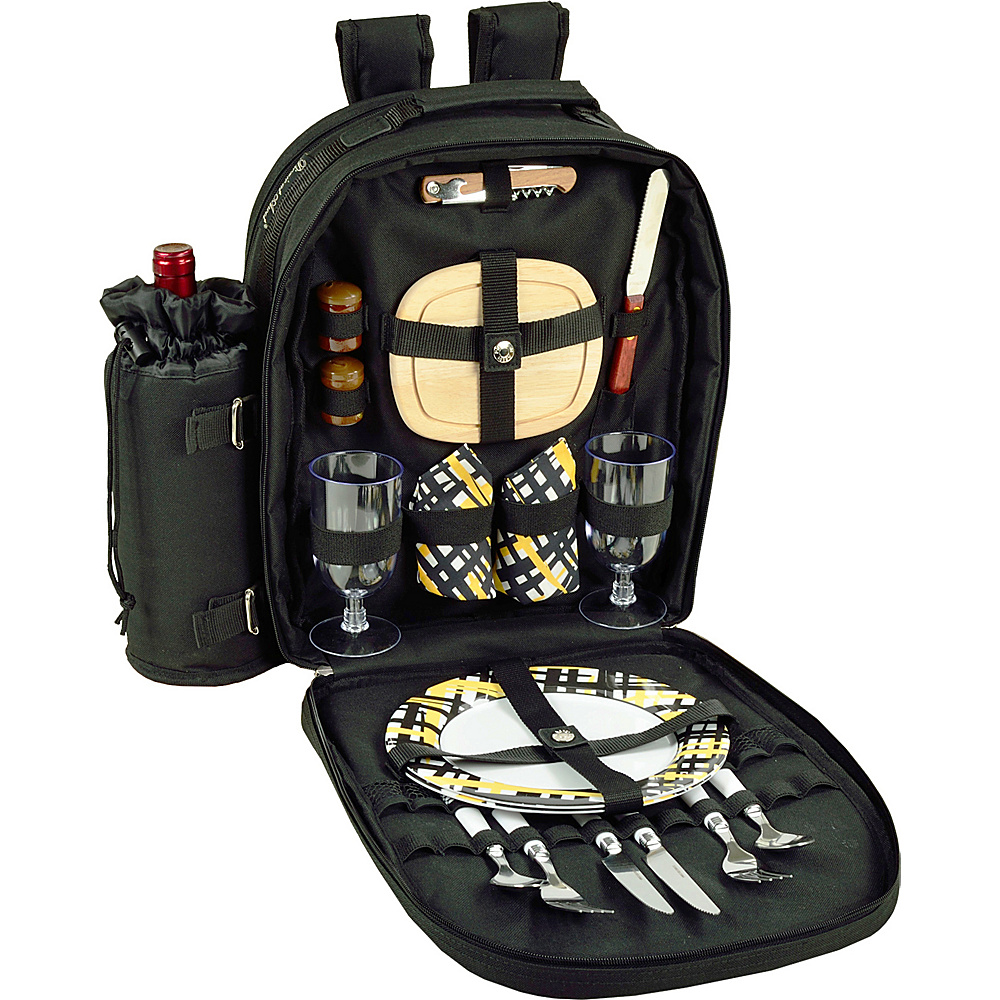 Picnic at Ascot Deluxe Equipped 2 Person Picnic Backpack with Cooler & Insulated Wine Holder Black with Paris - Picnic at Ascot Outdoor Accessories - Outdoor, Outdoor Accessories