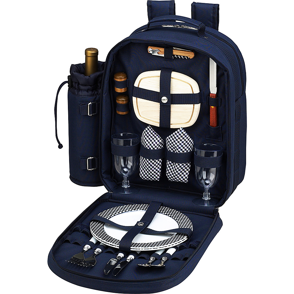 Picnic at Ascot Deluxe Equipped 2 Person Picnic Backpack with Cooler & Insulated Wine Holder Navy/White with Gingham - Picnic at Ascot Outdoor Accessories - Outdoor, Outdoor Accessories