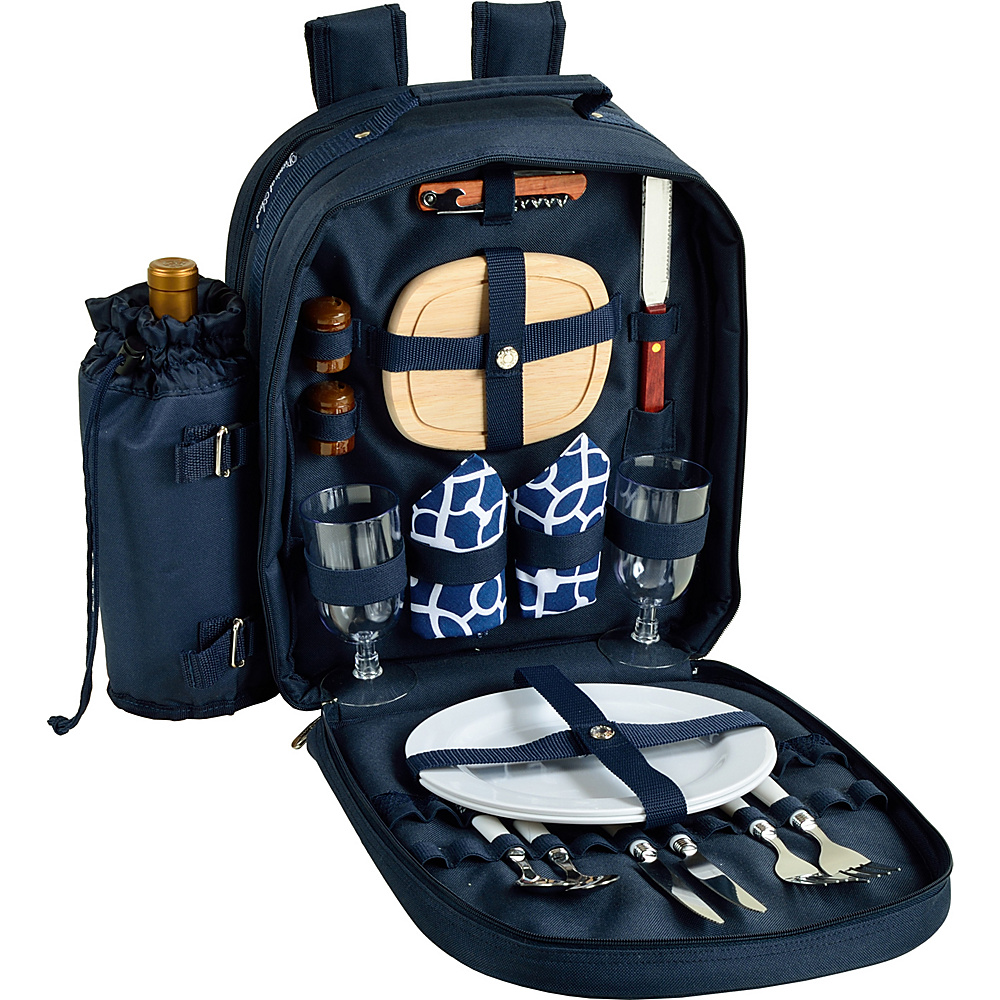 Picnic at Ascot Deluxe Equipped 2 Person Picnic Backpack with Cooler & Insulated Wine Holder Navy/White with Trellis Blue - Picnic at Ascot Outdoor Accessories