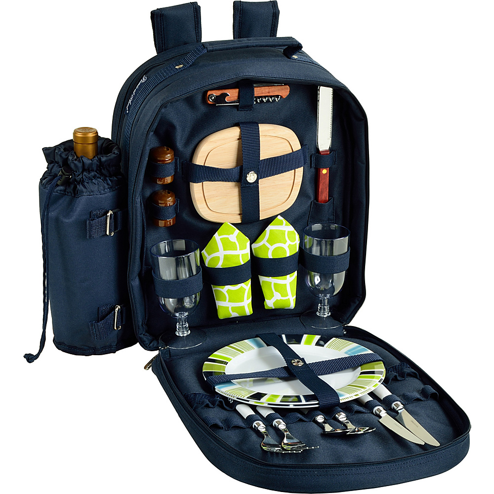 Picnic at Ascot Deluxe Equipped 2 Person Picnic Backpack with Cooler & Insulated Wine Holder Navy/White with Trellis Green - Picnic at Ascot Outdoor Accessories - Outdoor, Outdoor Accessories