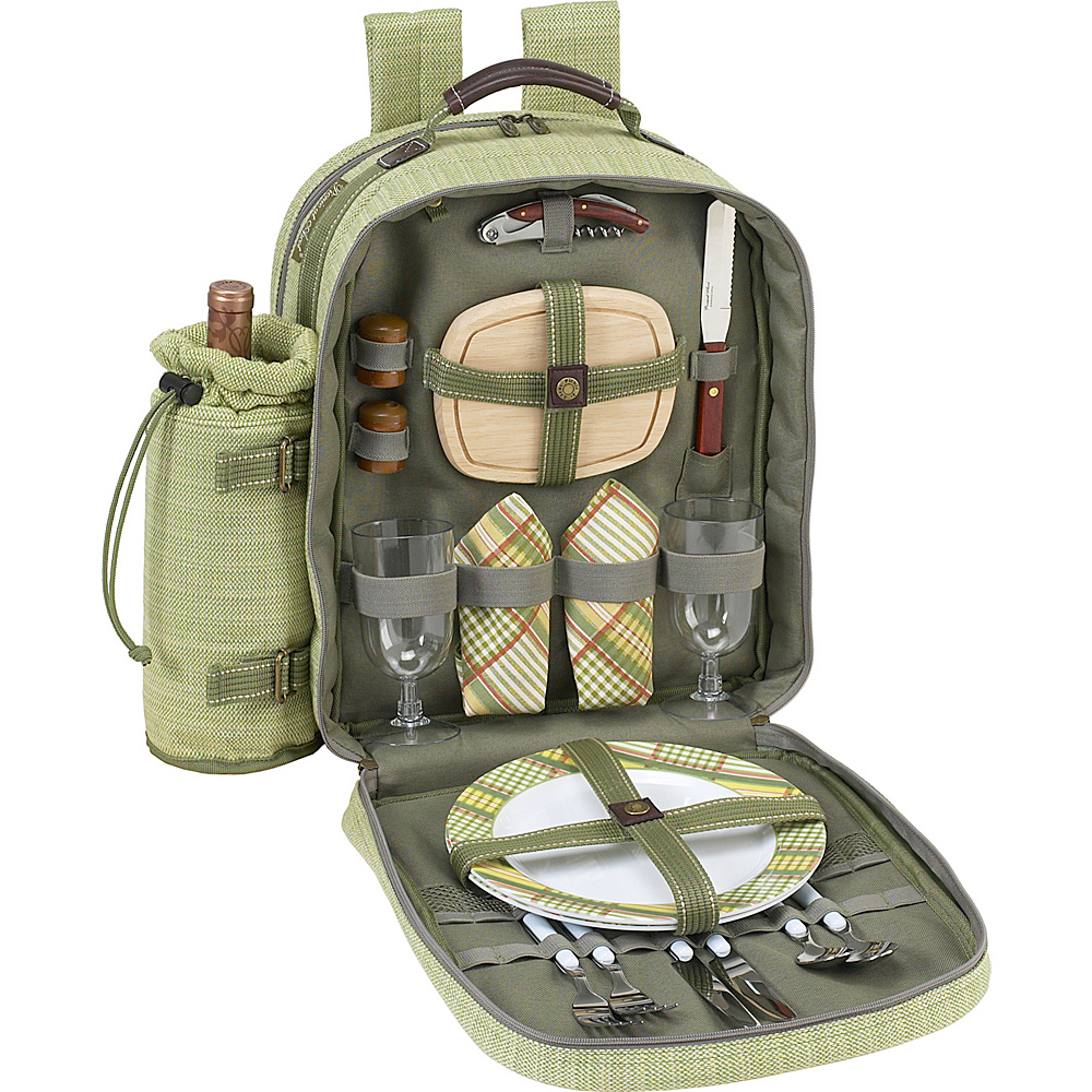 Picnic at Ascot Deluxe Equipped 2 Person Picnic Backpack with Cooler & Insulated Wine Holder Olive Tweed - Picnic at Ascot Outdoor Accessories
