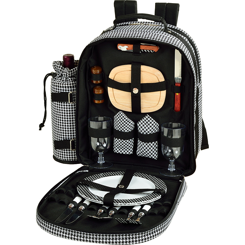 Picnic at Ascot Deluxe Equipped 2 Person Picnic Backpack with Cooler & Insulated Wine Holder Houndstooth - Picnic at Ascot Outdoor Accessories - Outdoor, Outdoor Accessories