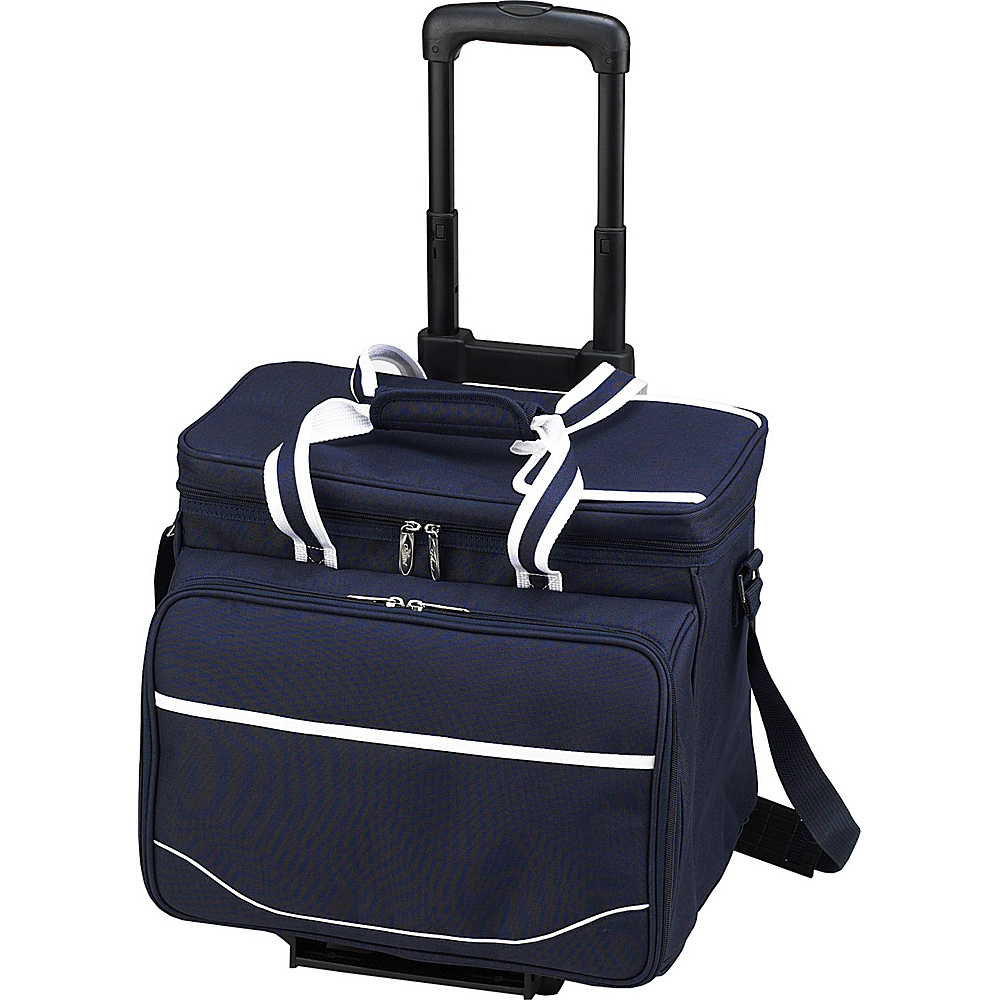 Picnic at Ascot Equipped Picnic Cooler with Service for 4 on Wheels Navy/White with Gingham - Picnic at Ascot Outdoor Coolers - Outdoor, Outdoor Coolers