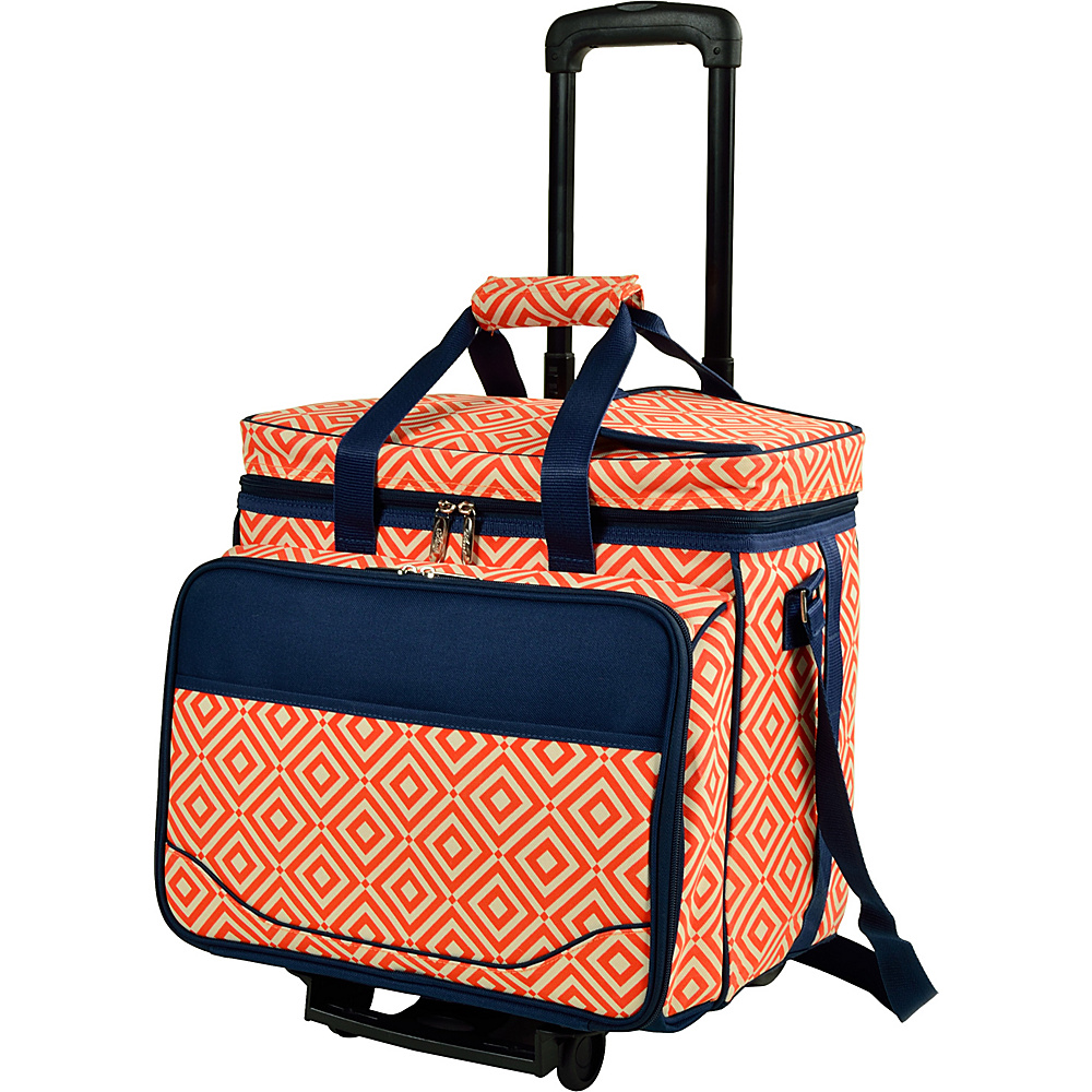 Picnic at Ascot Equipped Picnic Cooler with Service for 4 on Wheels Orange/Navy - Picnic at Ascot Outdoor Coolers - Outdoor, Outdoor Coolers