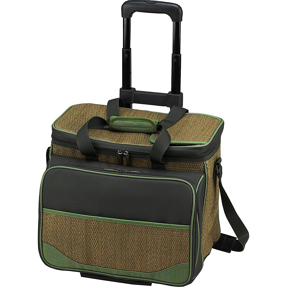 Picnic at Ascot Equipped Picnic Cooler with Service for 4 on Wheels Natural/Forest Green - Picnic at Ascot Outdoor Coolers - Outdoor, Outdoor Coolers