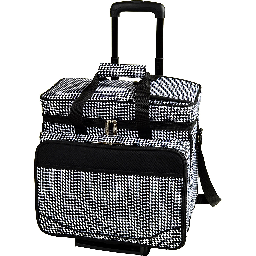 Picnic at Ascot Equipped Picnic Cooler with Service for 4 on Wheels Houndstooth - Picnic at Ascot Outdoor Coolers - Outdoor, Outdoor Coolers