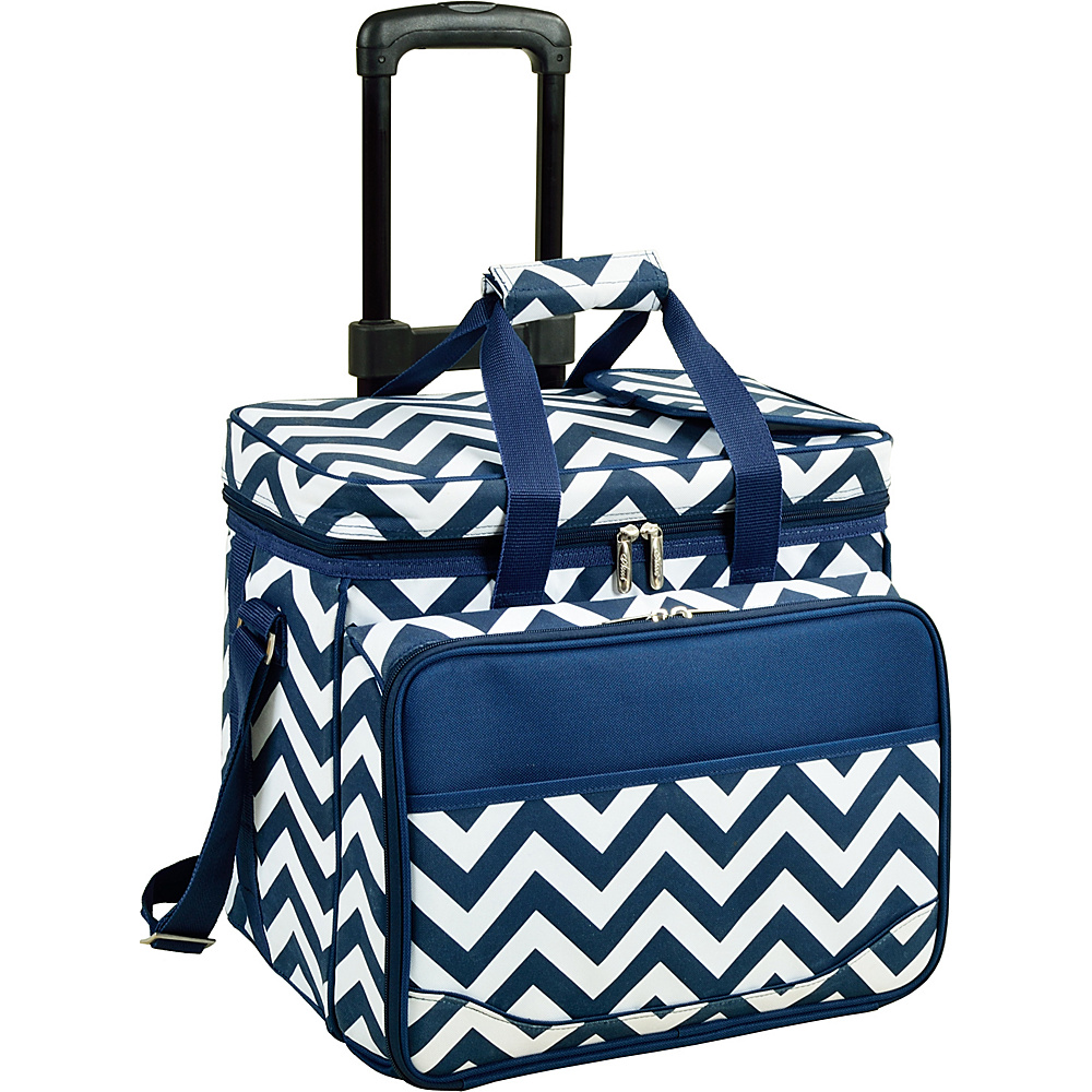 Picnic at Ascot Equipped Picnic Cooler with Service for 4 on Wheels Navy/White with Chevron - Picnic at Ascot Outdoor Coolers - Outdoor, Outdoor Coolers