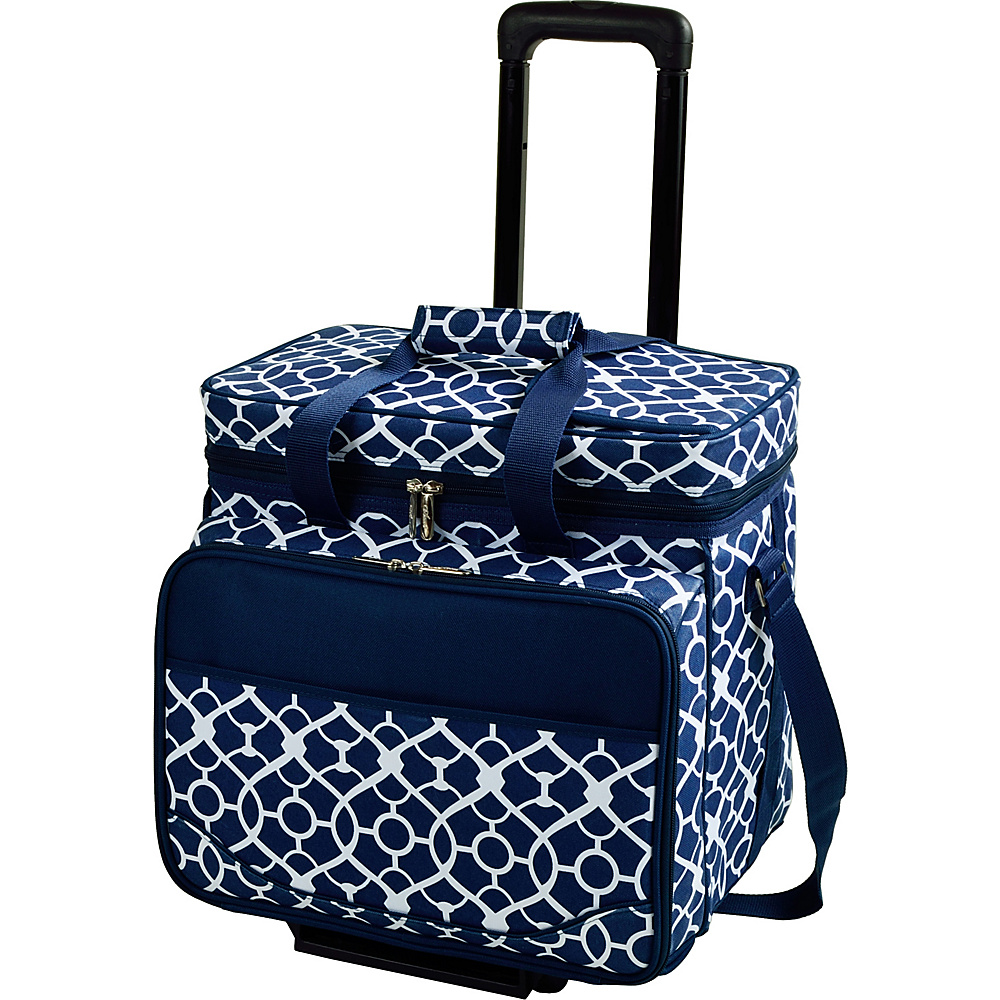 Picnic at Ascot Equipped Picnic Cooler with Service for 4 on Wheels Trellis Blue - Picnic at Ascot Outdoor Coolers - Outdoor, Outdoor Coolers