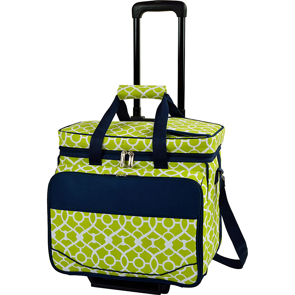 Picnic at Ascot Equipped Picnic Cooler with Service for 4 on Wheels Trellis Green - Picnic at Ascot Outdoor Coolers - Outdoor, Outdoor Coolers