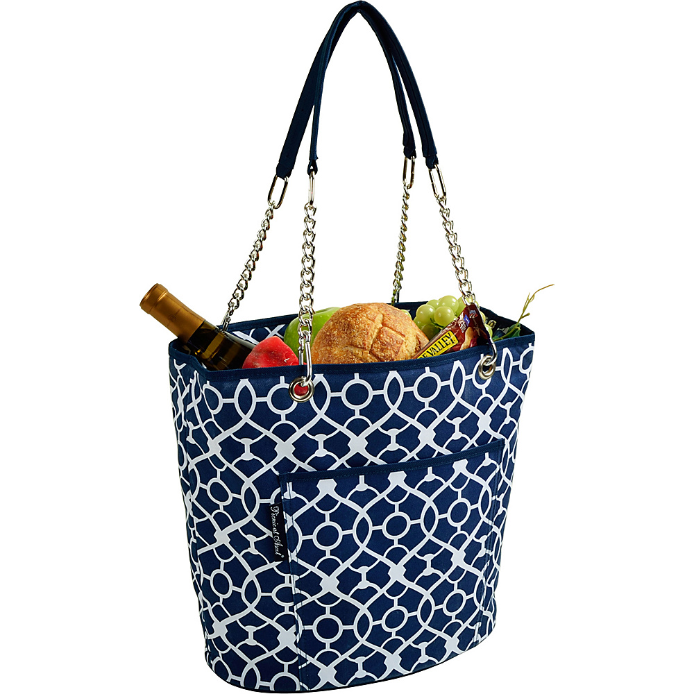 Picnic at Ascot Insulated Fashion Cooler Bag - 22 Can Tote Trellis Blue - Picnic at Ascot Outdoor Coolers - Outdoor, Outdoor Coolers