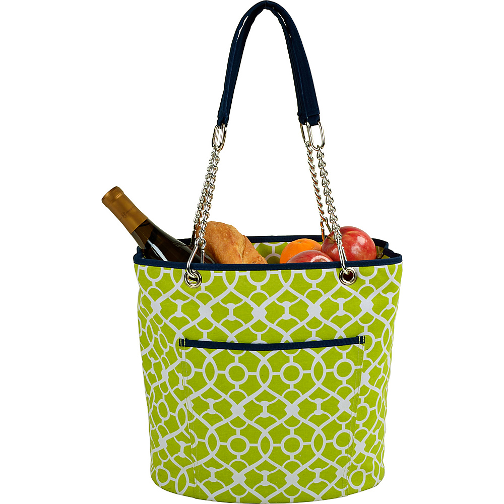Picnic at Ascot Insulated Fashion Cooler Bag - 22 Can Tote Trellis Green - Picnic at Ascot Outdoor Coolers - Outdoor, Outdoor Coolers