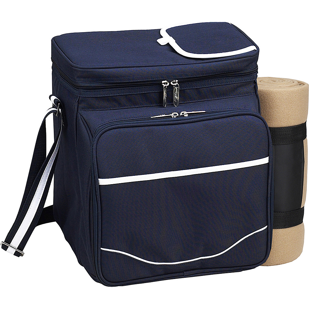 Picnic at Ascot Picnic Basket / Cooler with Blanket - Fully Equipped for 2 Navy/White - Picnic at Ascot Outdoor Coolers - Outdoor, Outdoor Coolers