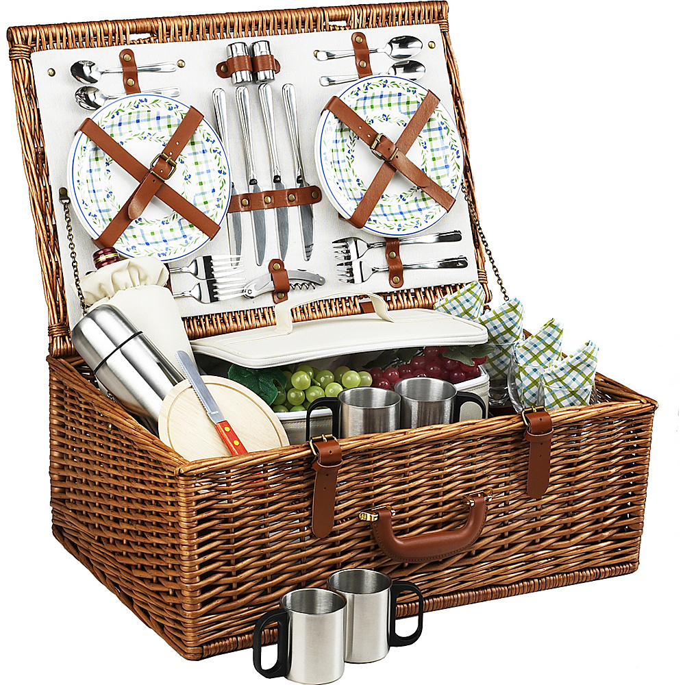Picnic at Ascot Dorset English-Style Willow Picnic Basket with Service for 4 and Coffee Set Wicker w/Gazebo - Picnic at Ascot Outdoor Accessories - Outdoor, Outdoor Accessories