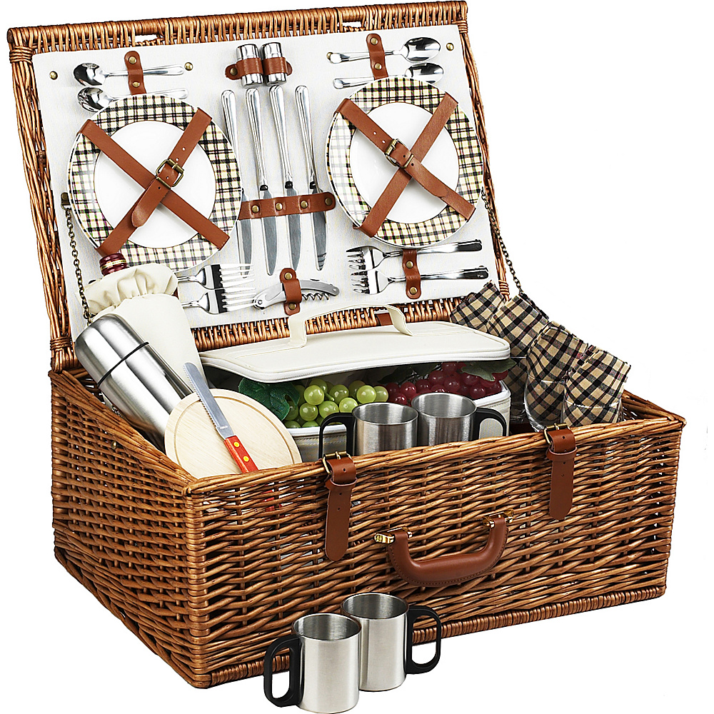 Picnic at Ascot Dorset English-Style Willow Picnic Basket with Service for 4 and Coffee Set Wicker w/London - Picnic at Ascot Outdoor Accessories - Outdoor, Outdoor Accessories