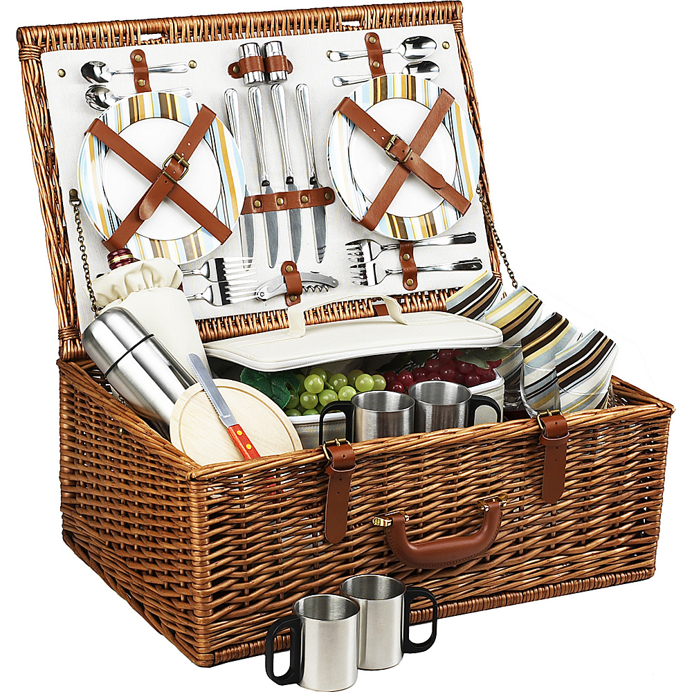 Picnic at Ascot Dorset English-Style Willow Picnic Basket with Service for 4 and Coffee Set Wicker w/Santa Cruz - Picnic at Ascot Outdoor Accessories - Outdoor, Outdoor Accessories