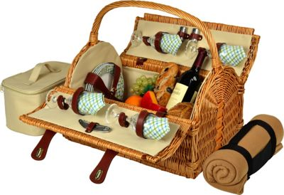 Picnic at Ascot Yorkshire Willow Picnic Basket with Service for 4 with Blanket Wicker w/Gazebo - Picnic at Ascot Outdoor Accessories