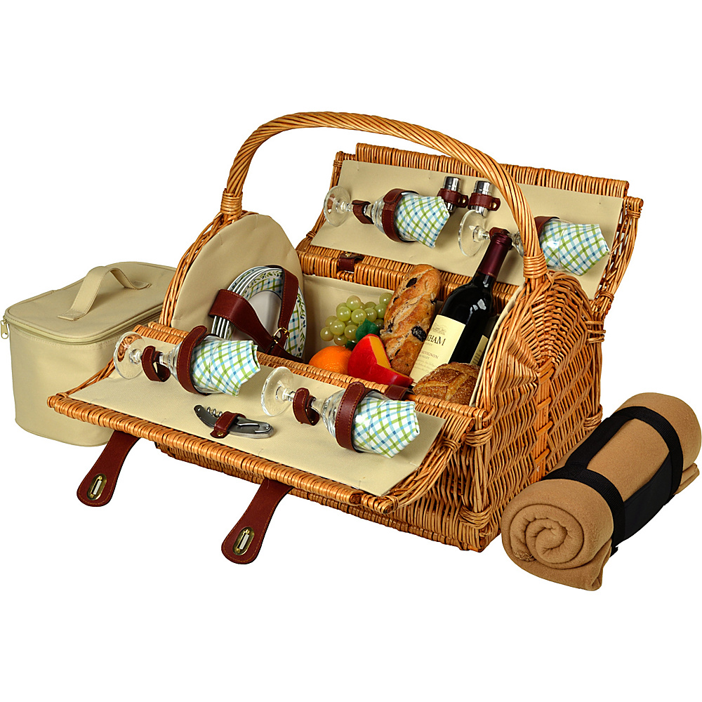 Picnic at Ascot Yorkshire Willow Picnic Basket with Service for 4 with Blanket Wicker w/Gazebo - Picnic at Ascot Outdoor Accessories - Outdoor, Outdoor Accessories