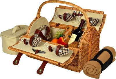 Picnic at Ascot Yorkshire Willow Picnic Basket with Service for 4 with Blanket Wicker w/London - Picnic at Ascot Outdoor Accessories