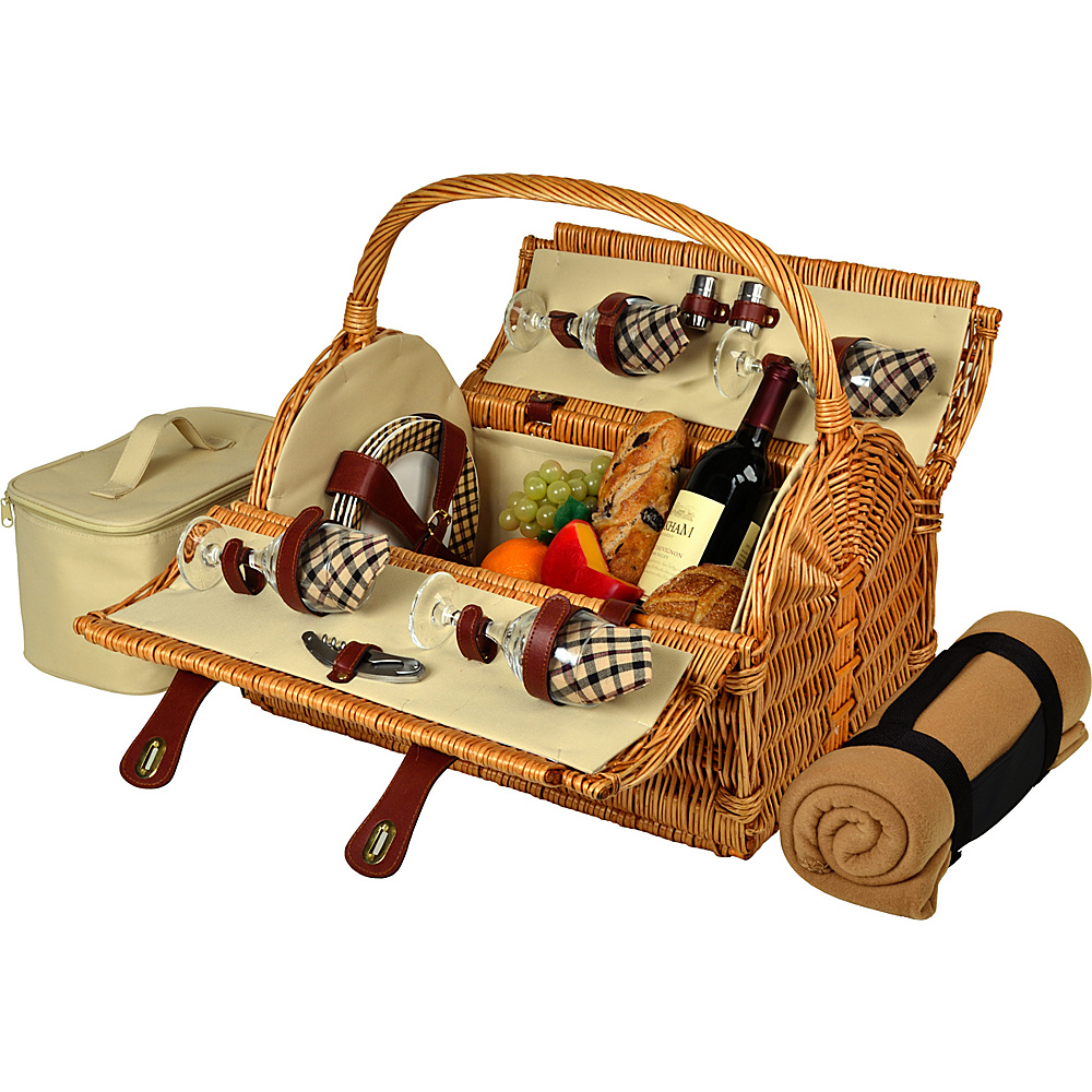 Picnic at Ascot Yorkshire Willow Picnic Basket with Service for 4 with Blanket Wicker w/London - Picnic at Ascot Outdoor Accessories - Outdoor, Outdoor Accessories