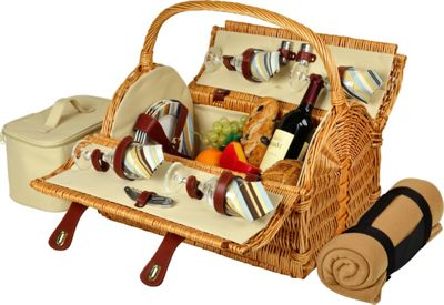 Picnic at Ascot Yorkshire Willow Picnic Basket with Service for 4 with Blanket Wicker w/Santa Cruz - Picnic at Ascot Outdoor Accessories