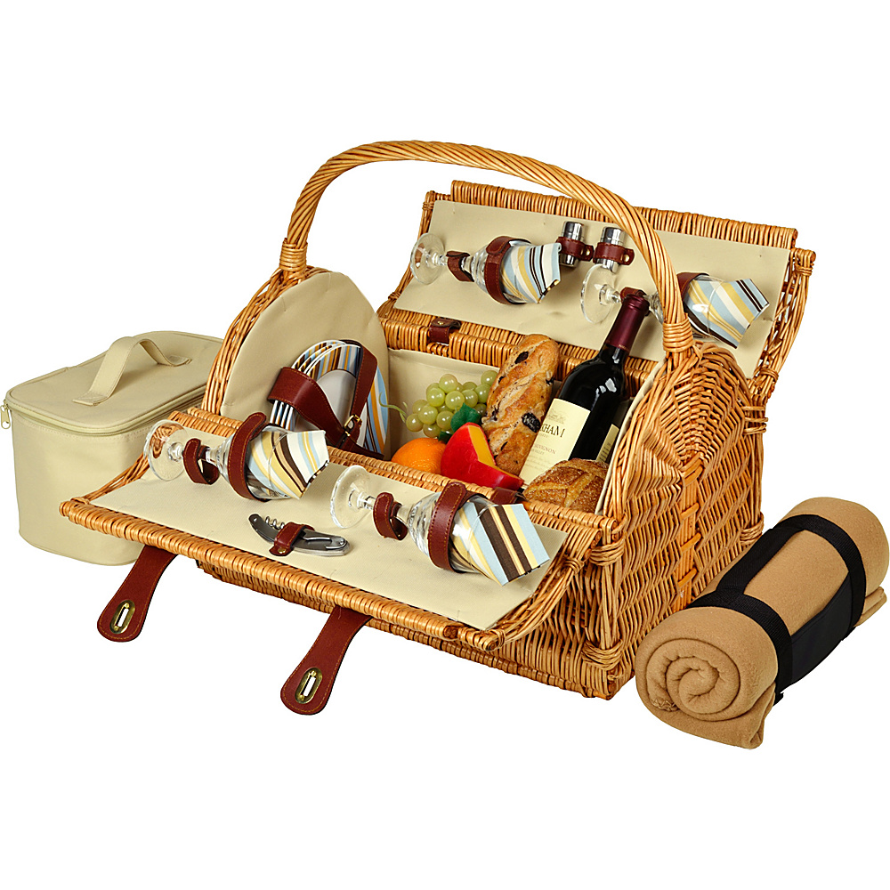 Picnic at Ascot Yorkshire Willow Picnic Basket with Service for 4 with Blanket Wicker w/Santa Cruz - Picnic at Ascot Outdoor Accessories - Outdoor, Outdoor Accessories