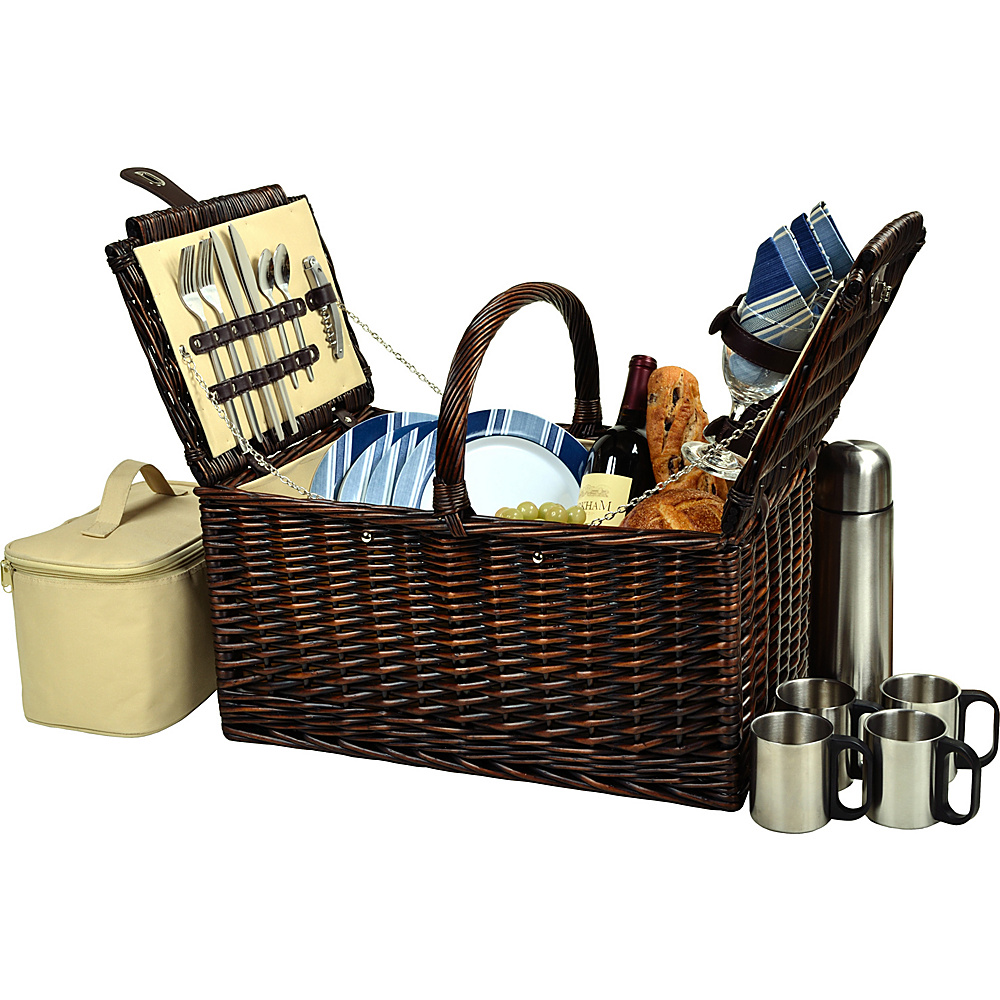 Picnic at Ascot Buckingham Picnic Willow Picnic Basket with Service for 4 and Coffee Service Brown Wicker/Blue Stripe - Picnic at Ascot Outdoor Accessories - Outdoor, Outdoor Accessories