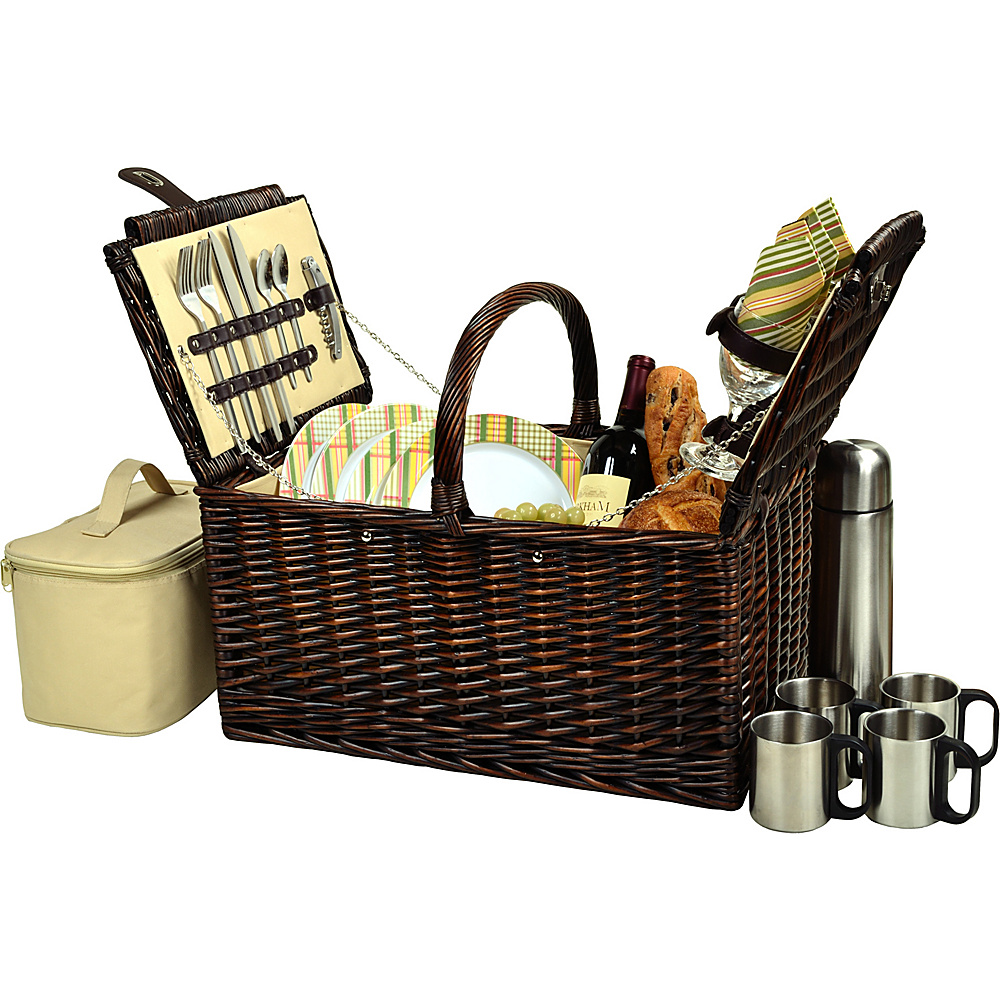 Picnic at Ascot Buckingham Picnic Willow Picnic Basket with Service for 4 and Coffee Service Brown Wicker/Hamptons - Picnic at Ascot Outdoor Accessories - Outdoor, Outdoor Accessories