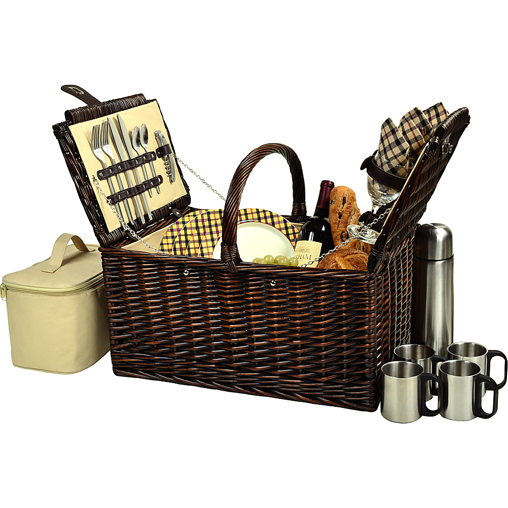 Picnic at Ascot Buckingham Picnic Willow Picnic Basket with Service for 4 and Coffee Service Brown Wicker/London Plaid - Picnic at Ascot Outdoor Accessories - Outdoor, Outdoor Accessories