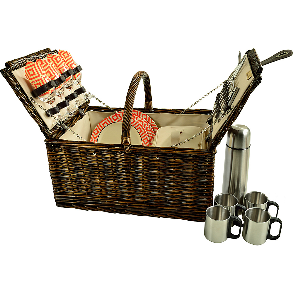 Picnic at Ascot Buckingham Picnic Willow Picnic Basket with Service for 4 and Coffee Service Brown Wicker/Diamond Orange - Picnic at Ascot Outdoor Accessories - Outdoor, Outdoor Accessories