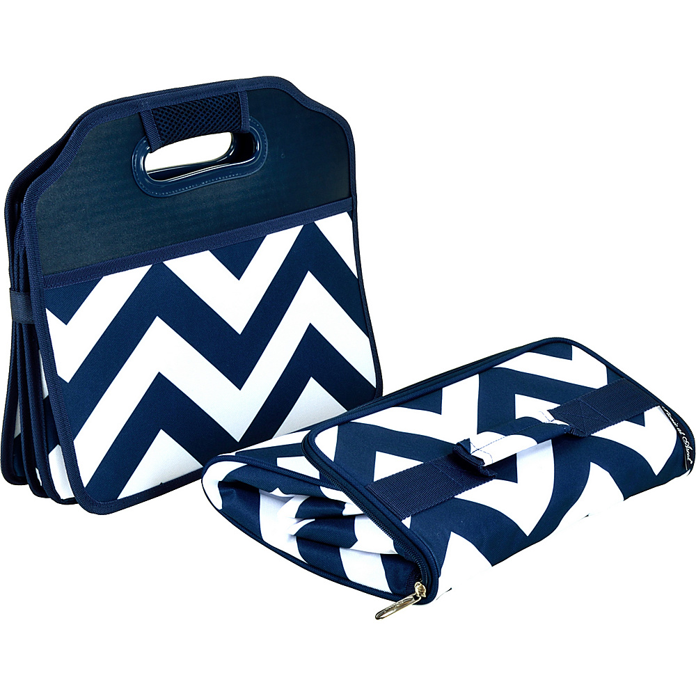 Picnic at Ascot Original Folding Trunk Organizer with Cooler Blue Chevron - Picnic at Ascot Trunk and Transport Organization - Travel Accessories, Trunk and Transport Organization