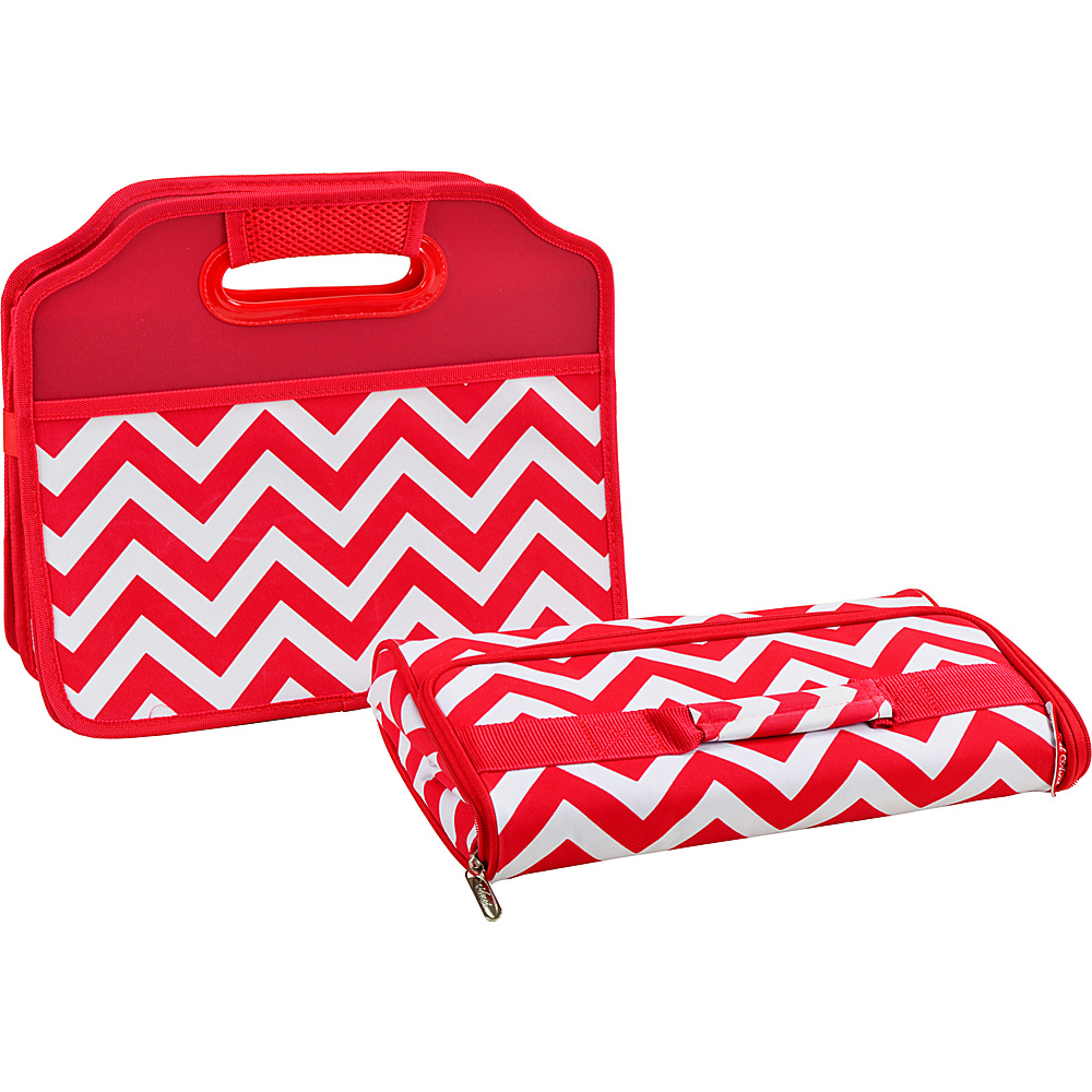 Picnic at Ascot Original Folding Trunk Organizer with Cooler Red Chevron - Picnic at Ascot Trunk and Transport Organization - Travel Accessories, Trunk and Transport Organization