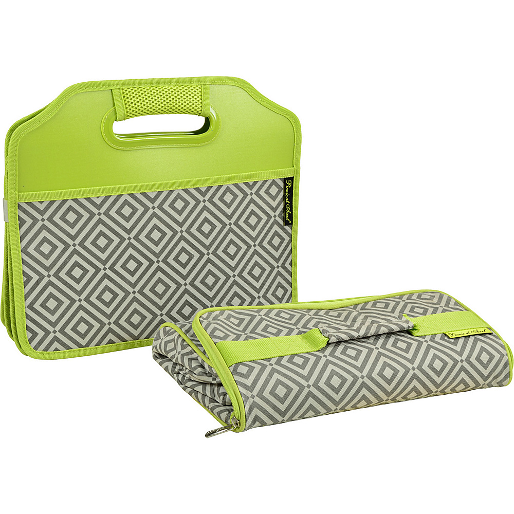 Picnic at Ascot Original Folding Trunk Organizer with Cooler Granite Grey/Green - Picnic at Ascot Trunk and Transport Organization - Travel Accessories, Trunk and Transport Organization