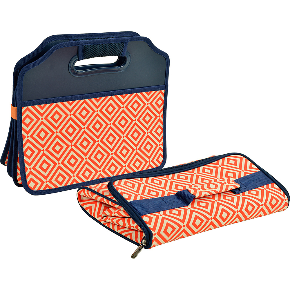 Picnic at Ascot Original Folding Trunk Organizer with Cooler Orange/Navy - Picnic at Ascot Trunk and Transport Organization - Travel Accessories, Trunk and Transport Organization