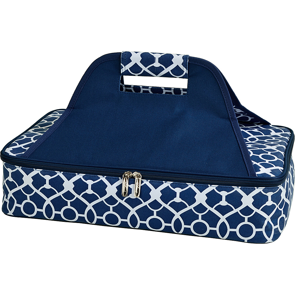 Picnic at Ascot Insulated Casserole Carrier to keep Food Hot or Cold Trellis Blue - Picnic at Ascot Outdoor Accessories - Outdoor, Outdoor Accessories
