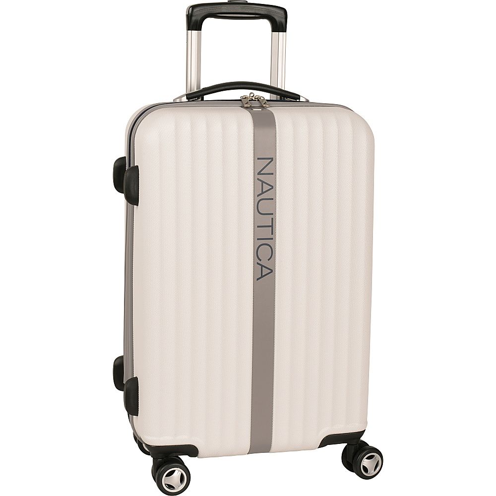 "Nautica Surfers Paradise 21"" Hardside Spinner Carry-On White/Grey - Nautica Hardside Luggage"