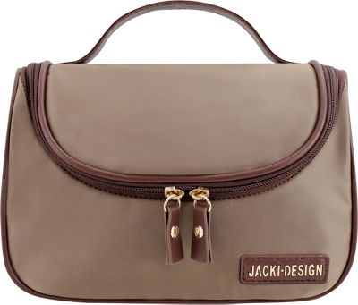 Jacki Design Essential Travel Cosmetic Bag with Hanger Brown - Jacki Design Toiletry Kits 10477963