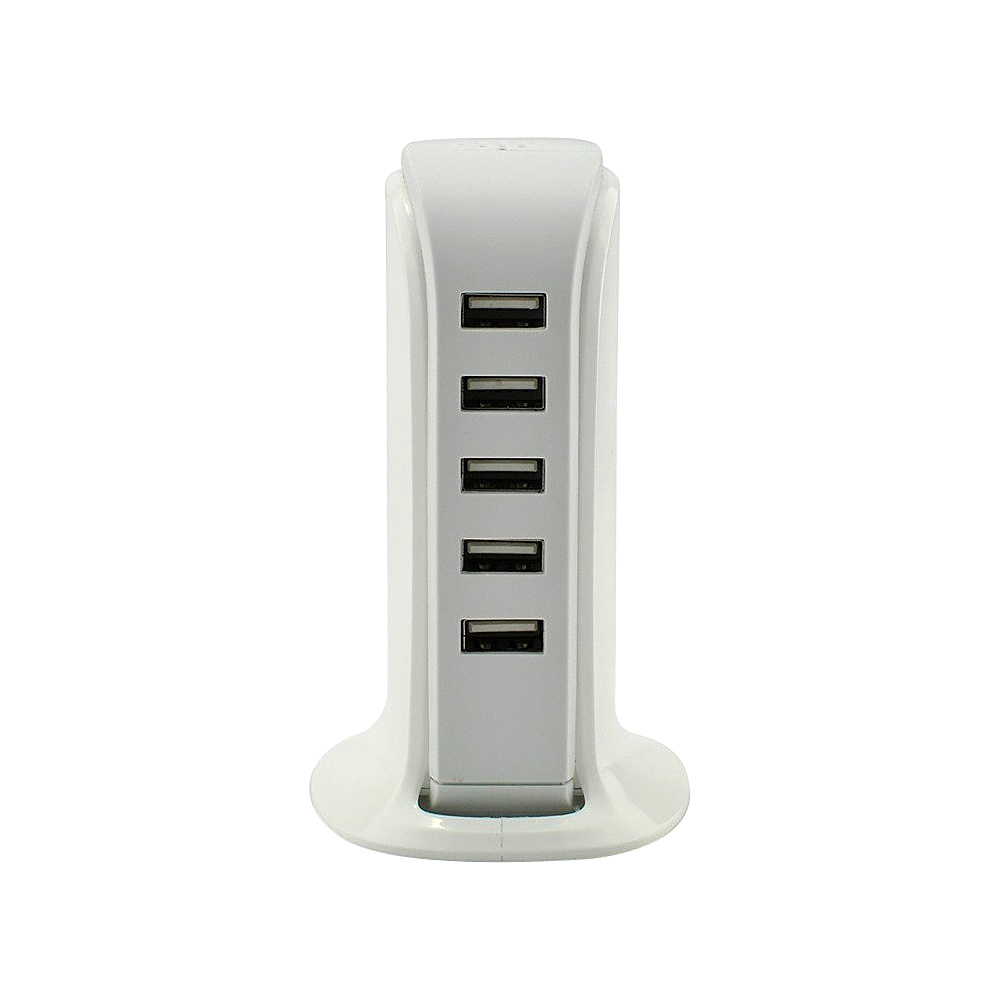Koolulu 30 Watt 5 port USB rapid Desktop Charger White Koolulu Portable Batteries Chargers