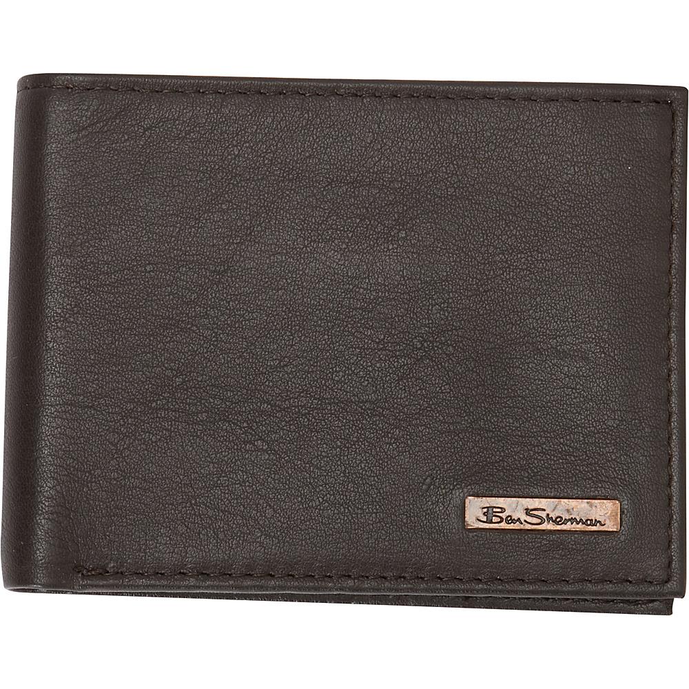 Ben Sherman Luggage Hackney Collection Leather RFID 5 Pocket Billfold Wallet Brown Ben Sherman Luggage Men s Wallets