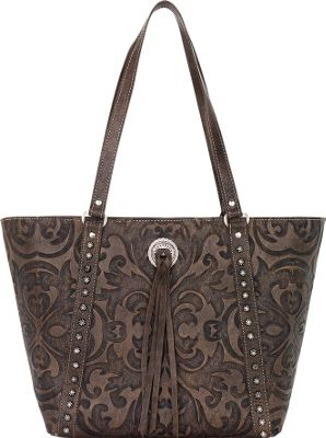 American West Baroque Bucket Tote Distressed Charcoal Brown - American West Leather Handbags