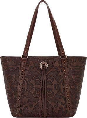 American West Baroque Bucket Tote Chestnut Brown - American West Leather Handbags
