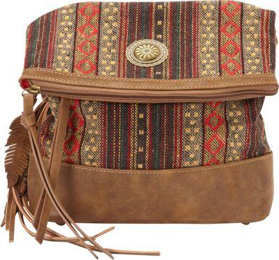 Bandana Serape Fold Over Crossbody Medium Brown / Autumn Leaves - Bandana Manmade Handbags