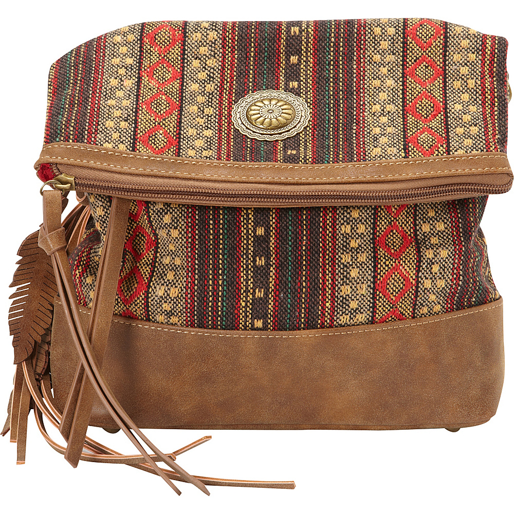 Bandana Serape Fold Over Crossbody Medium Brown Autumn Leaves Bandana Manmade Handbags