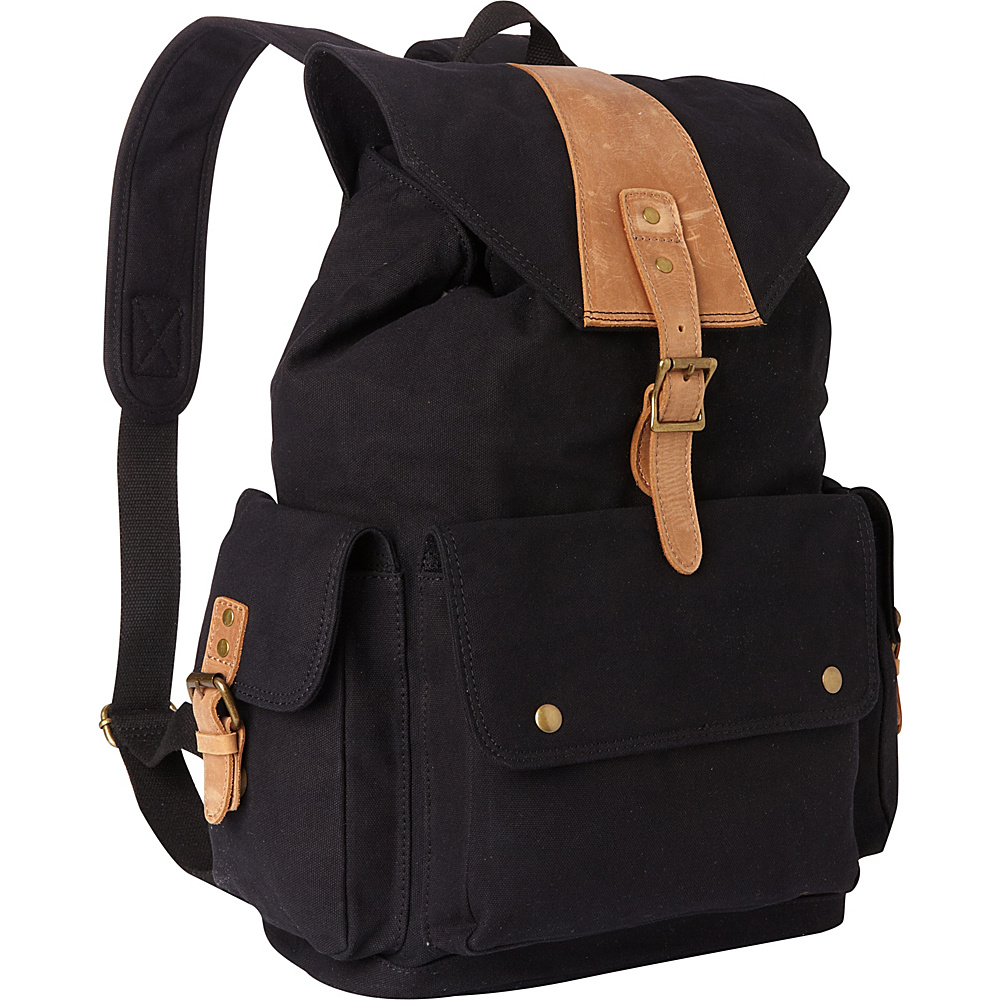 Vagabond Traveler Classic Large Canvas Backpack Black - Vagabond Traveler Everyday Backpacks - Backpacks, Everyday Backpacks