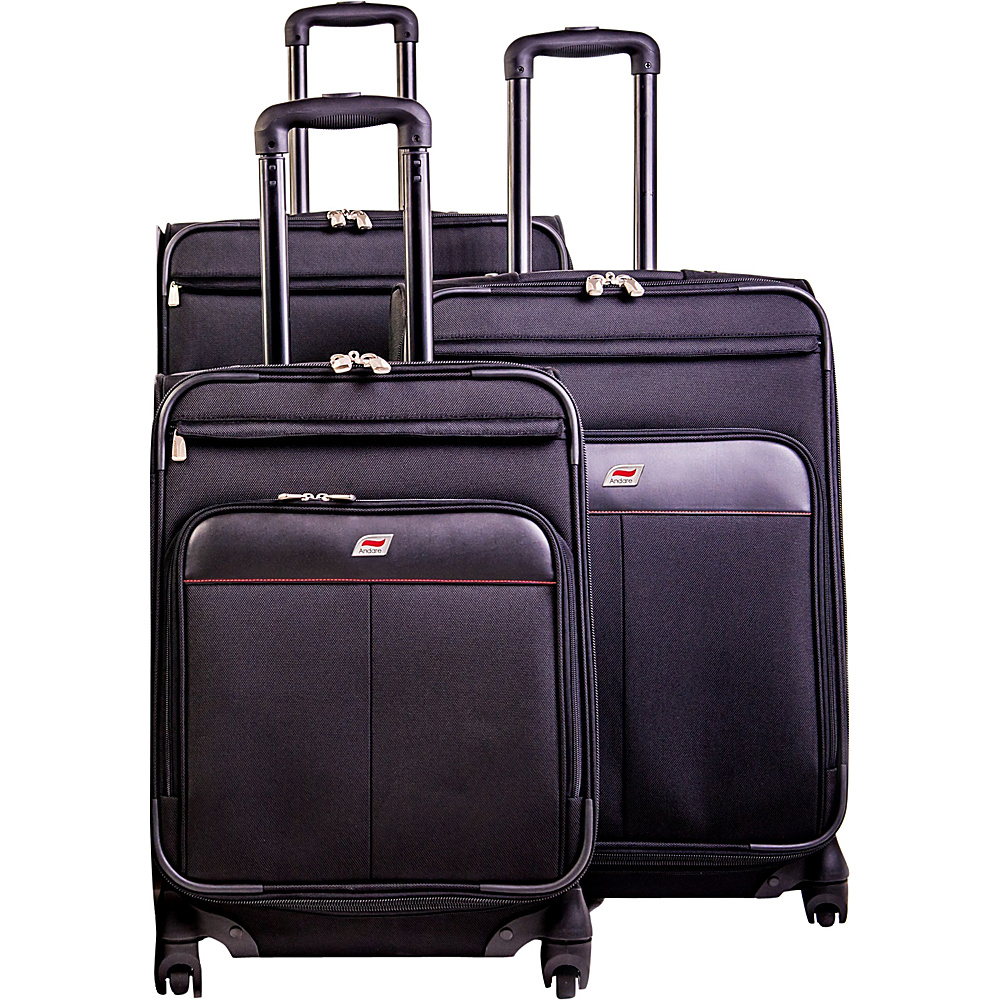 Andare Milan 8 Wheel Spinner Upright 3 Piece Luggage Set Black Andare Luggage Sets