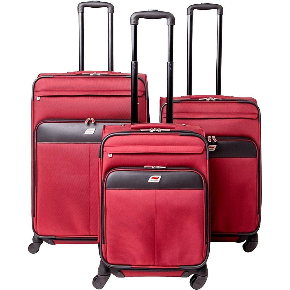 Andare Milan 8 Wheel Spinner Upright 3 Piece Luggage Set Burgundy Andare Luggage Sets