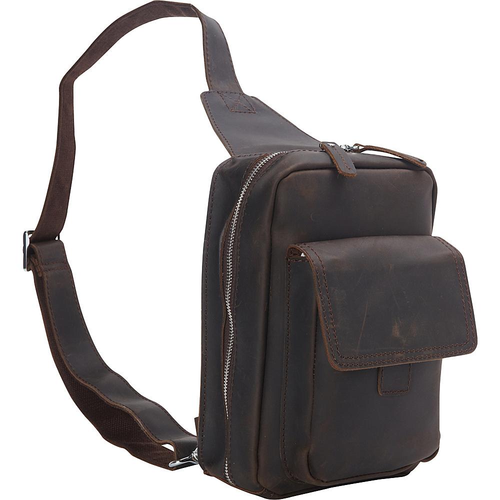 Vagabond Traveler Cowhide Leather Chest Pack Travel Companion Dark Brown - Vagabond Traveler Slings - Backpacks, Slings