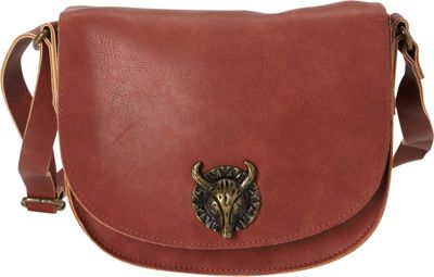 T-shirt & Jeans Mini Crossbody Flap with Bull Hardware Marsala - T-shirt & Jeans Leather Handbags