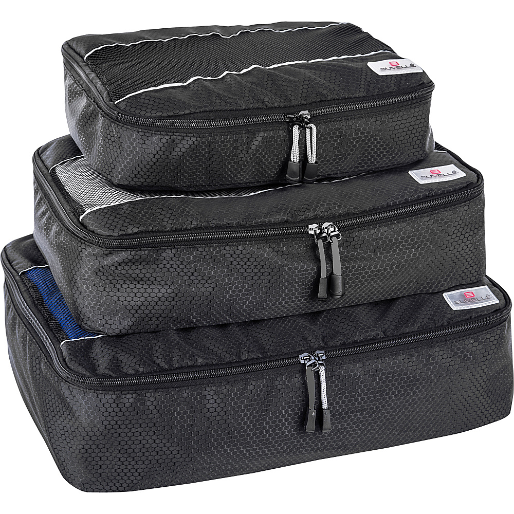 Suvelle 3 Piece Set of Luggage Organizer Packing Cubes Black Suvelle Travel Organizers