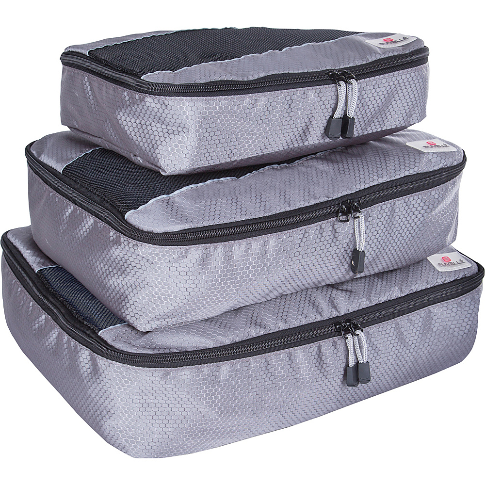 Suvelle 3 Piece Set of Luggage Organizer Packing Cubes Grey Suvelle Travel Organizers