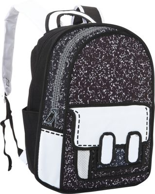 Fab Starpoint Fashion Trompe L'oeil Composition Backpack Black & White - Fab Starpoint Fashion Everyday Backpacks